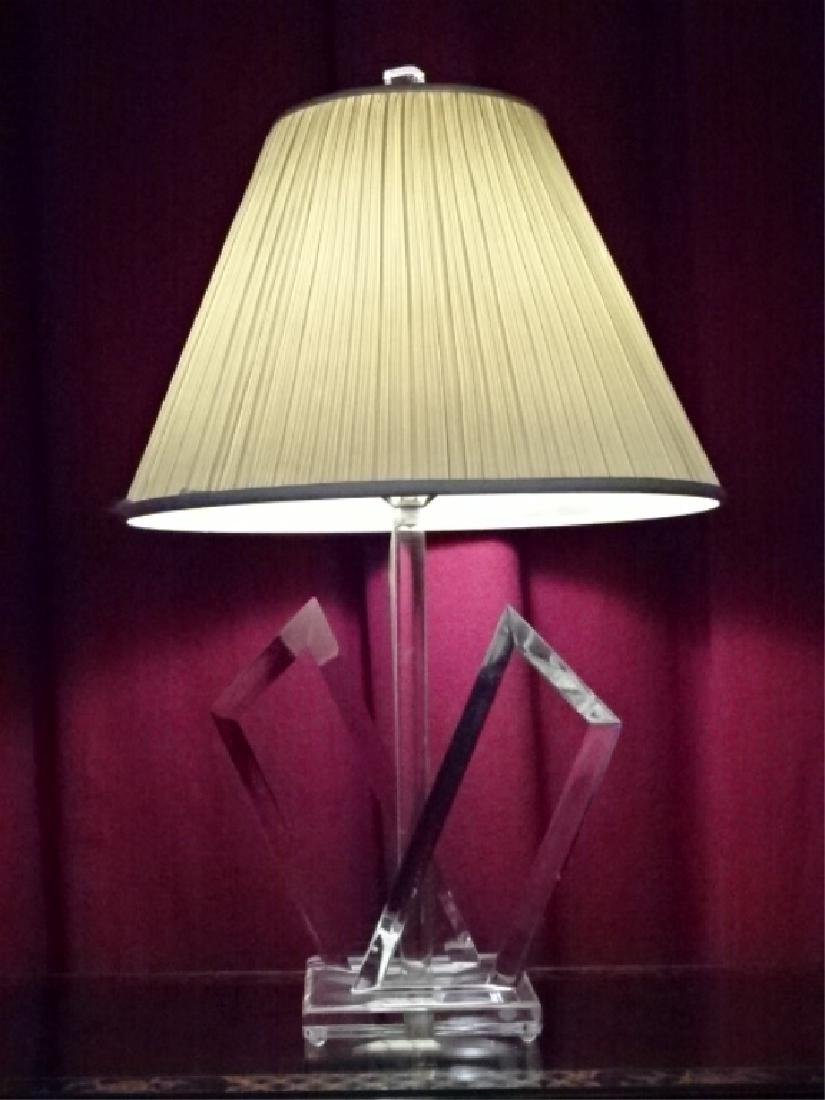 SIGNED VAN TEAL LUCITE LAMP, MID CENTURY MODERN, SIGNED
