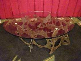 SILAS SEANDEL SIGNED BRUTALIST COFFEE TABLE, TORCH CUT