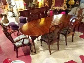 7 PC QUEEN ANNE STYLE DINING TABLE AND 6 CHAIRS (2