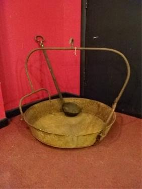 LARGE 19TH C. IRON COOKING POT WITH LADLE, 2 PC LOT,