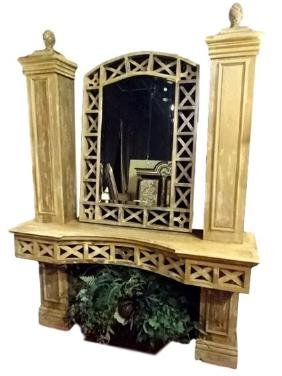 2 PC CUSTOM WOOD CONSOLE TABLE AND MIRROR, WITH COLUMNS