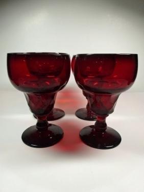 "4 PC ANTIQUE CRANBERRY GLASS GOBLETS, APPROX 5 5/8""H"