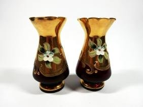 2 PC VINTAGE RUBY GLASS BUD VASES, GOLD TRIM & PAINTED