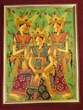 LARGE BALINESE PAINTING ON CANVAS, 3 DANCERS, SIGNED
