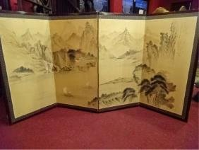 4 PANEL ASIAN PAPER SCREEN, LANDSCAPE WITH BOATS, VERY