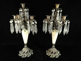 PAIR 5 LIGHT CANDLEABRAS, MARBLE & BRONZE WITH CRYSTAL