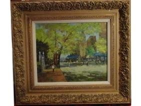 LARGE OIL PAINTING ON CANVAS, PARIS STREET SCENE,