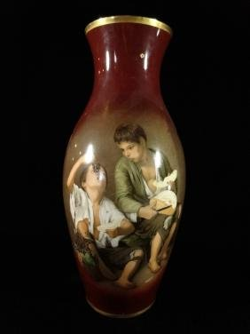 ERNST LEITNER WIESAU VASE, PAINTED IMAGE OF TWO