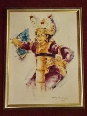 LARGE BALINESE DANCER PAINTING ON CANVAS, SIGNED LOWER