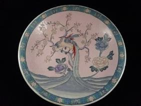 LARGE CHINESE PORCELAIN BOWL, PINK WITH BIRD DESIGN,