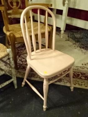 CHILD SIZE PINK PAINTED WINDSOR CHAIR, VERY GOOD
