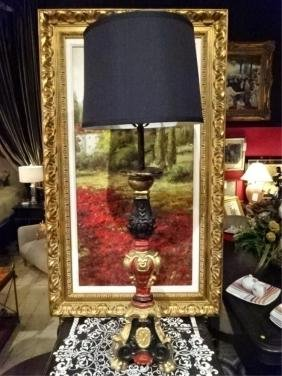 LARGE ORNATE TABLE LAMP, RED, GOLD, BLACK FINISH