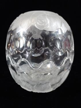 """FROSTED AND CLEAR CRYSTAL EGG FORM BOWL WITH LID, 5"""" X"""