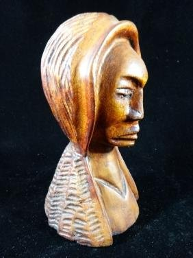 CARVED WOOD BUST, FEMALE FIGURE, VERY GOOD CONDITION,