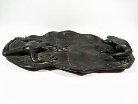 BRONZE FROG SCULPTURE DISH, TWO FROGS ON LILY PAD,