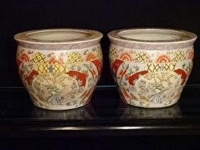 PAIR CHINESE PORCELAIN GOLD FISH BOWLS / PLANTERS,