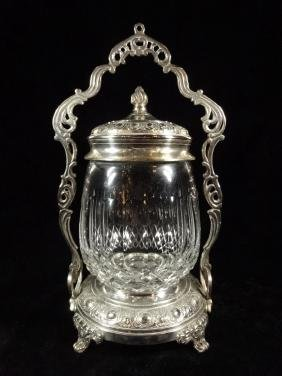 LARGE LEAD CRYSTAL ICE BUCKET WITH LID AND CADDY,