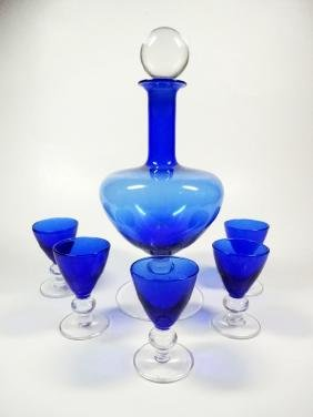 6 PC COBALT & CLEAR DECANTER & GLASSES, DECANTER APPROX