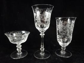 27 PC HEISEY GLASS STEMWARE, INTRICATE FLORAL DESIGN,