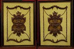 PAIR LARGE FRAMED ORNATE ARCHITECTURAL PANELS BRONZE