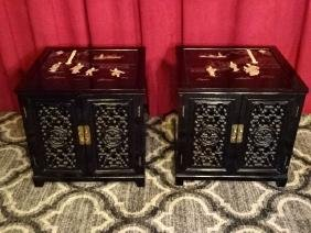 PAIR CHINESE BLACK LACQUER TABLES, CARVED STONE