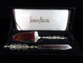 NEIMAN MARCUS CAKE SERVER AND KNIFE, CRYSTAL AND METAL