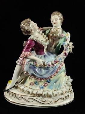 PORCELAIN FIGURINE, COURTING COUPLE, VERY GOOD