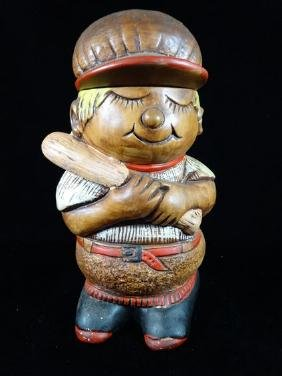 CERAMIC COOKIE JAR, BASEBALL PLAYER, VERY GOOD