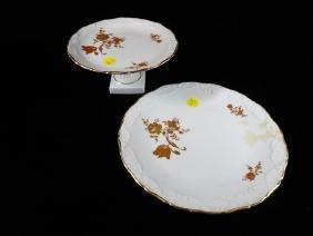 2 LIMOGES FRANCE PORCELAIN SERVING PLATES, PAINTED