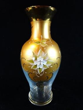 GILT CRYSTAL VASE WITH PAINTED FLOWERS, VERY GOOD