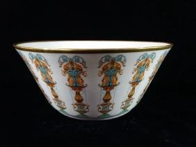 LENOX PORCELAIN BOWL, GILT AND PAINTED, MARKED, VERY