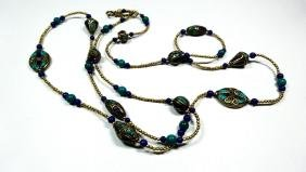 TIBETAN TURQUOISE, LAPIS & BLUE BEAD NECKLACE, BRASS