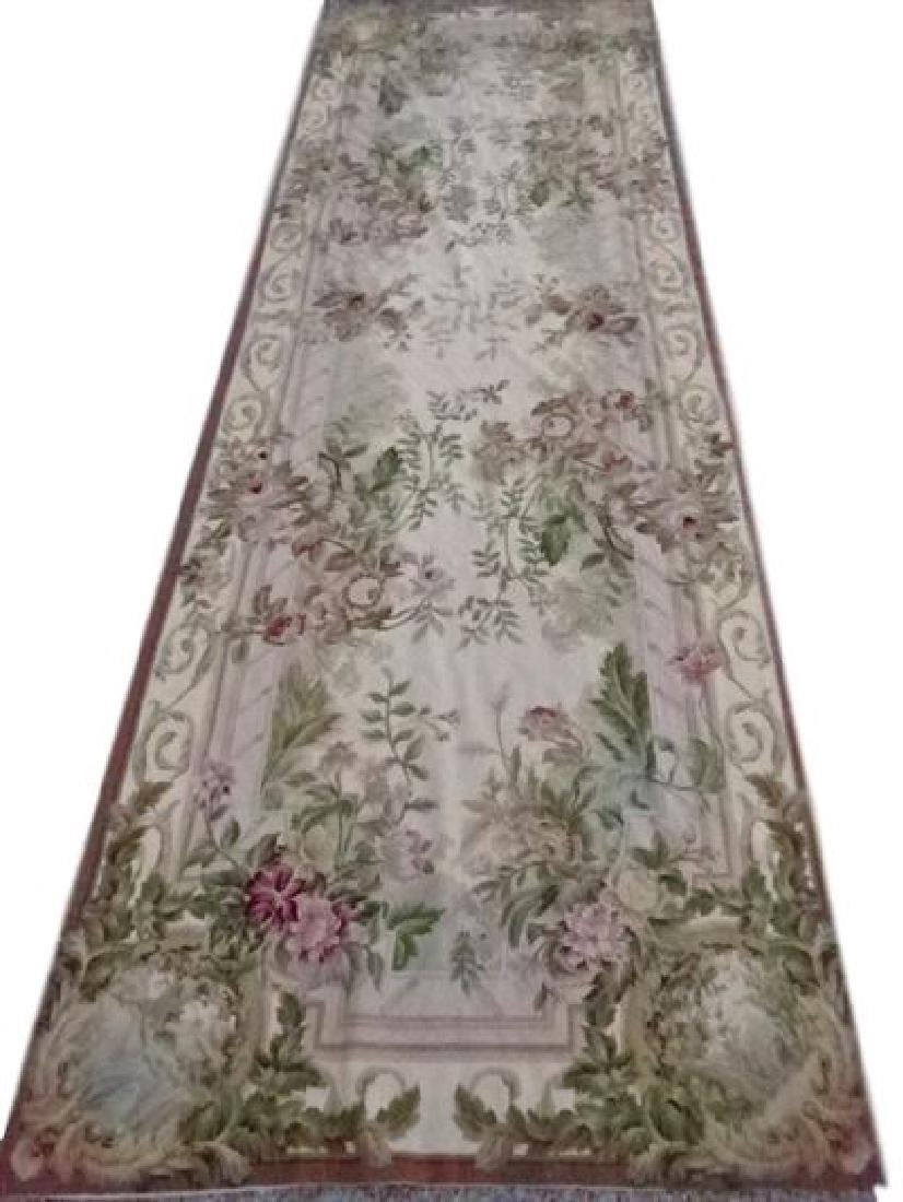 LARGE HAND KNOTTED TAPESTRY STYLE RUG RUNNER WITH