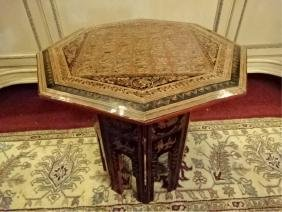ASIAN FOLDING OCTAGONAL TABLE, MADE IN THAILAND, BLACK,