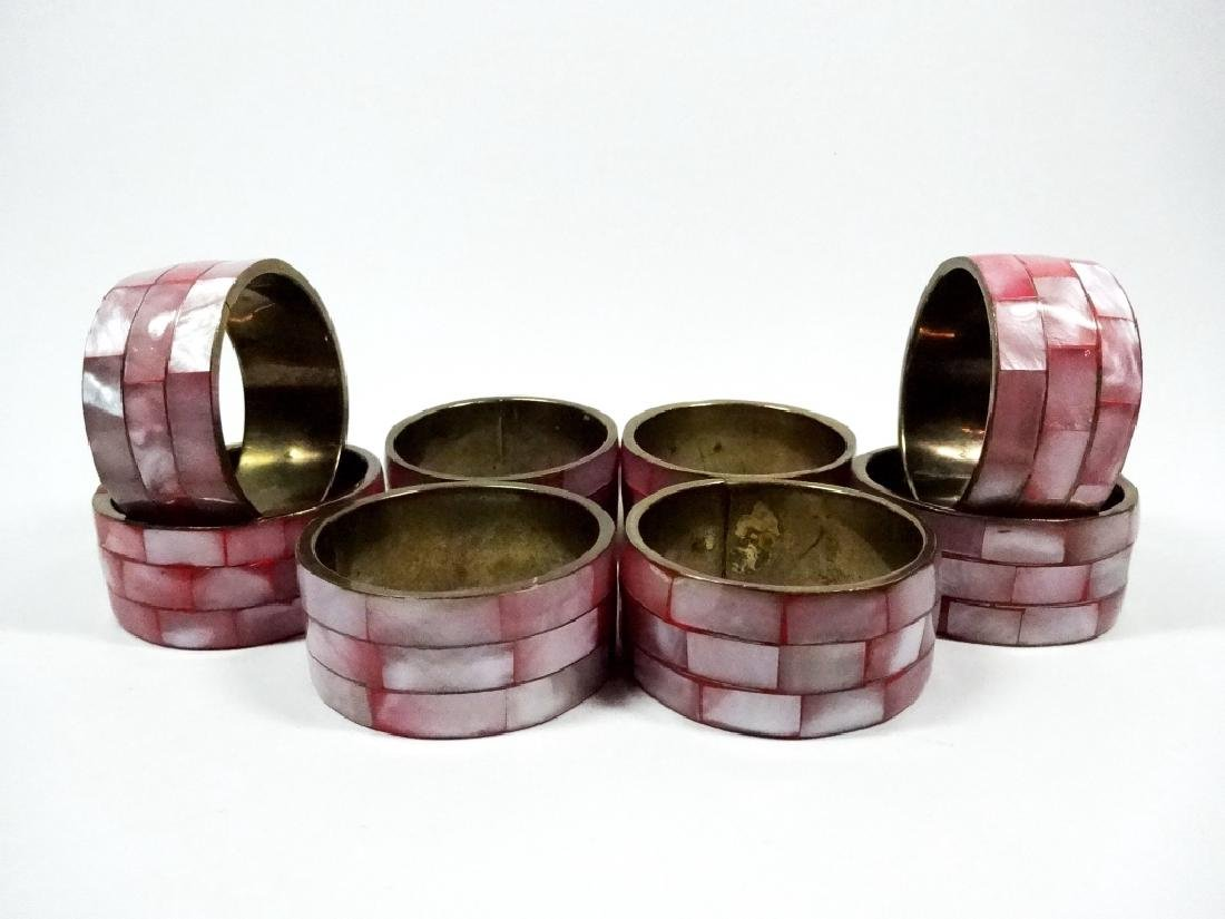 8 PC NAPKIN RINGS, PINK IRIDESCENT SHELL TILES, APPROX
