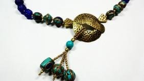 TIBETAN TURQUOISE, LAPIS & BLUE GLASS BEAD NECKLACE,