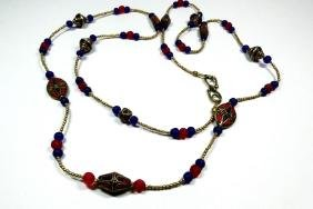 TIBETAN LAPIS & CORAL NECKLACE, BLUE & RED GLASS BEADS,