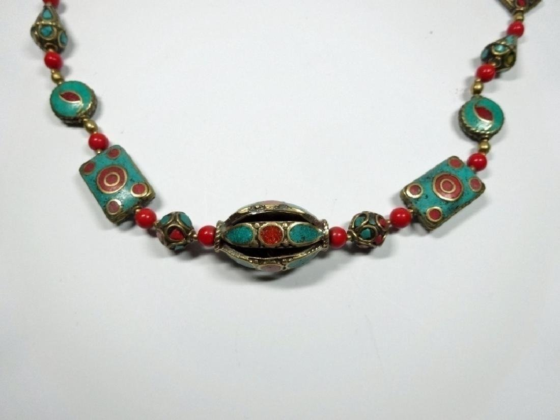 """TIBETAN NECKLACE WITH TURQUOISE & CORAL, APPROX 21""""L"""