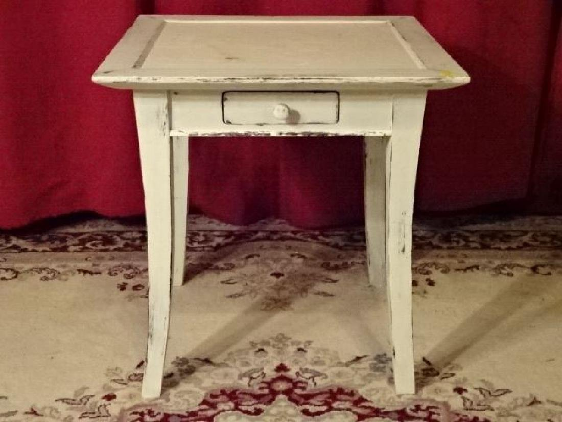 WHITE PAINTED WOOD TABLE, SINGLE DRAWER, LIGHTLY