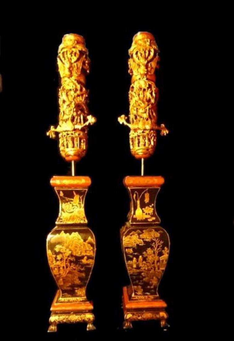 PAIR CHINESE QING DYNASTY CANDLESTICKS, 19TH C., GILT