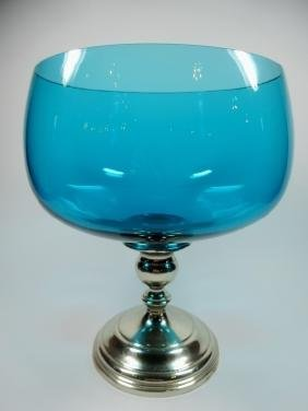 GORHAM STERLING BLUE GLASS COMPOTE BOWL, PATTERN 662