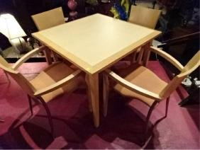 5 PC MODERN DINING TABLE AND 4 CHAIRS, LIGHT WOOD