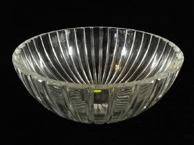 LARGE WATERFORD CRYSTAL BOWL, FLUTED SIDES, ETCHED