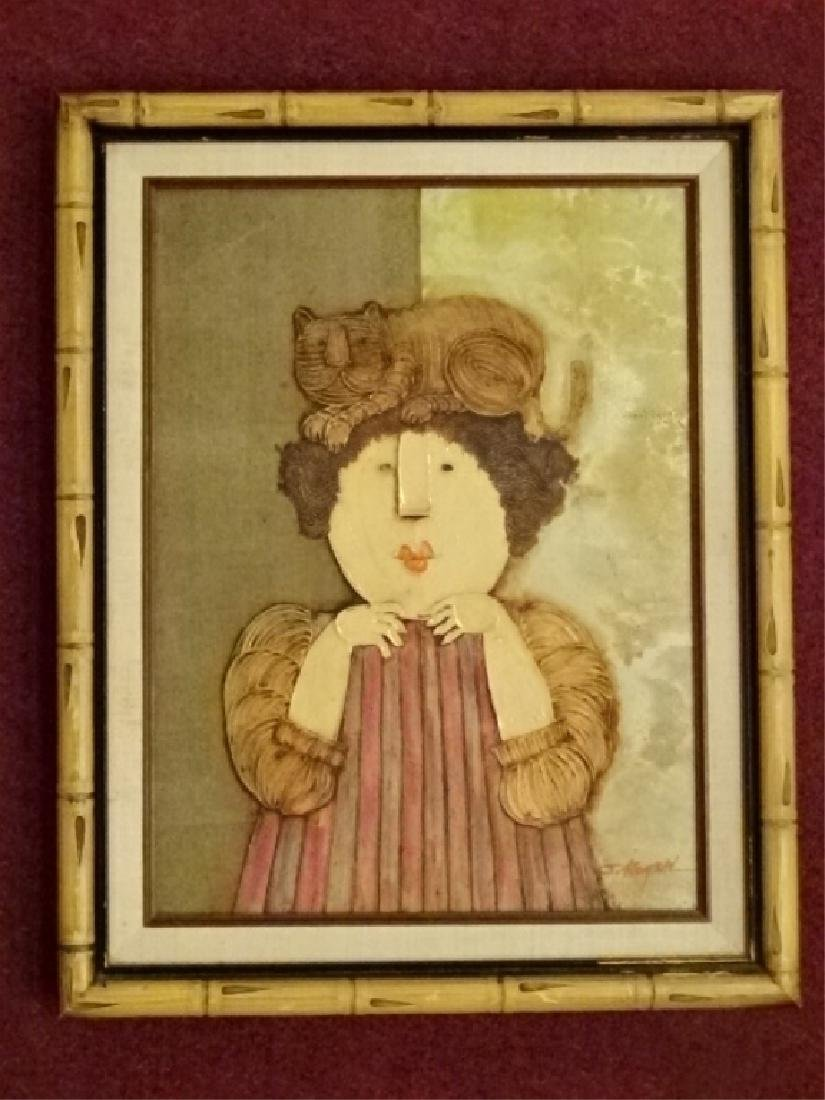 JOYCE ROYBAL PAINTING ON CANVAS, WOMAN WITH CAT ON