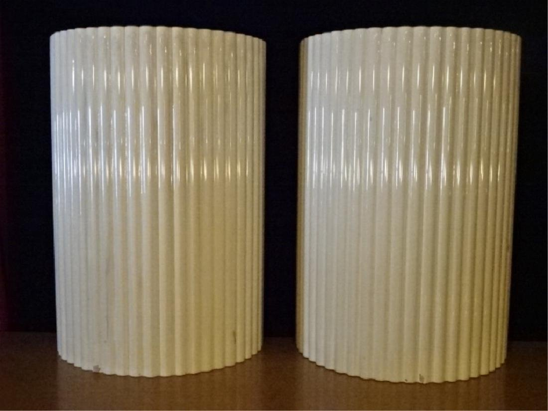 PAIR VINTAGE DEMI LUNE PEDESTALS, WOOD BASE WITH WHITE