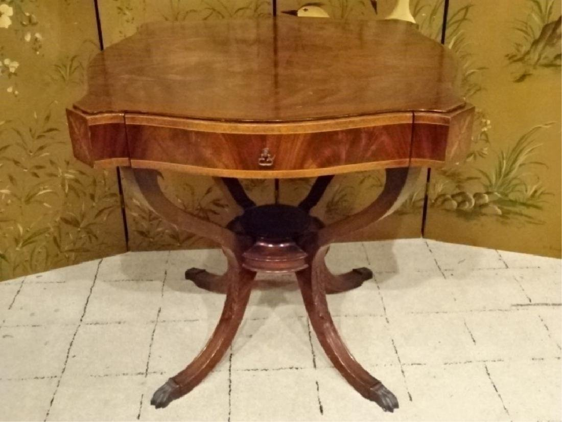 NATALE MAHOGANY TABLE, INLAID WOODS AND MATCHED