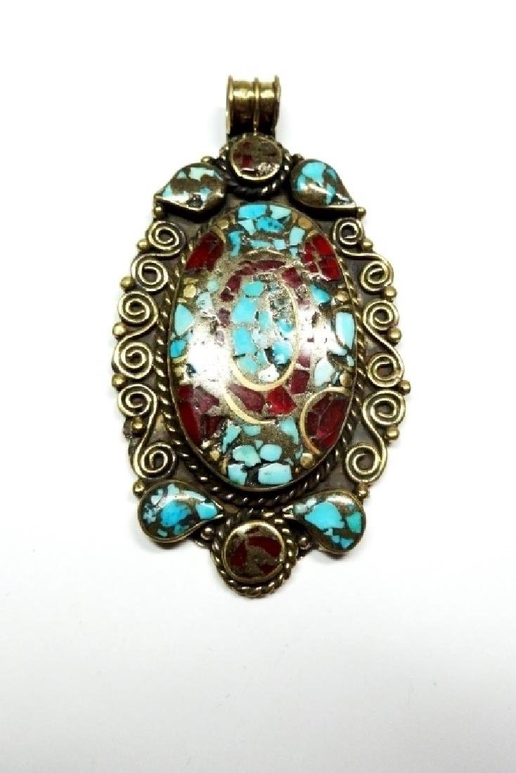 TIBETAN TURQUOISE & CORAL PENDANT, BRASS FITTINGS,