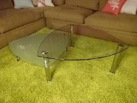 MODERN CHROME AND GLASS COFFEE TABLE, 2 TIERS, FROSTED