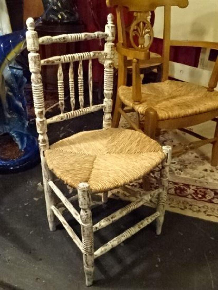 CHILD SIZE WOOD CHAIR WITH RUSH SEAT, DISTRESSED WHITE