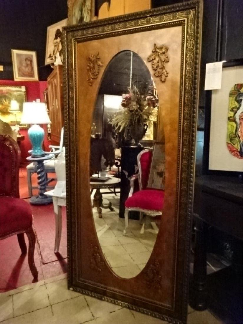 LARGE GILT WOOD MIRROR, RECTANGULAR WITH OVAL MIRROR,